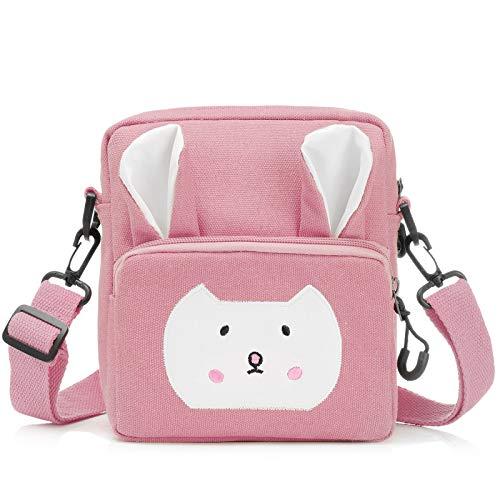 Wodasi Umhängetasche Kinder Mädchen Kleine Süße Handtaschen Kinder Prinzessin Mini Taschen Handtasche Mädchen Klein Hase mit Verstellbarem Gurt für Kinder Mädchen, Segeltuch, Rosa