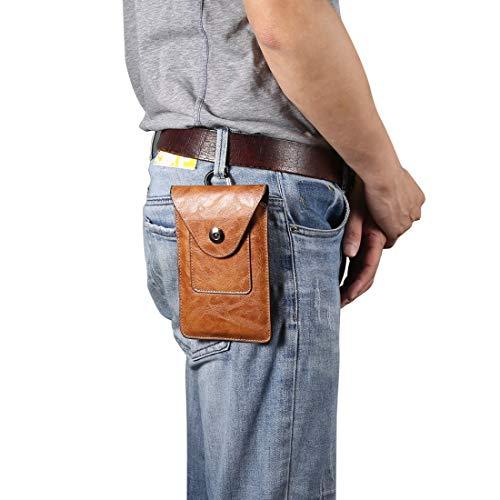 YANCAI Funda Protectora Elefante Textura Hombres Ocio Simple Universal Teléfono móvil Paquete de Cintura Caja de Cuero + Ranura for Tarjeta, Adecuada for teléfonos Inteligentes de 5,5-6.5 Pulgadas