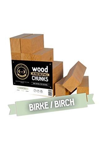 Grillgold Räucherchunks Birke, große Räucherchips, Wood Smoking Chunks zum räuchern von Fisch, Fleisch und Gemüse, 16 Stück ca. 34x44x100mm, alle Chunks sind gleich groß, ideal zum dosieren von Rauch, Räucherholz aus Birkenholz