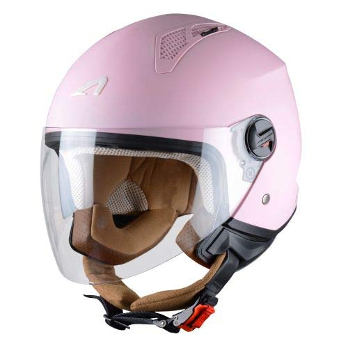 Astone Helmets - MINIJET monocolor - Casque jet - Casque jet urbain - Casque moto et scooter compact - Coque en polycarbonate - Flamingo S