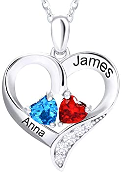 TUHE 925 Sterling Silver Custom Name Birthstone Pendant Chain Necklace for Women Mother Girl Couples with 15.7 +2.1  Chain Personalized Custom 2 Name 2 Birthstone Necklace Customized with Gift Box