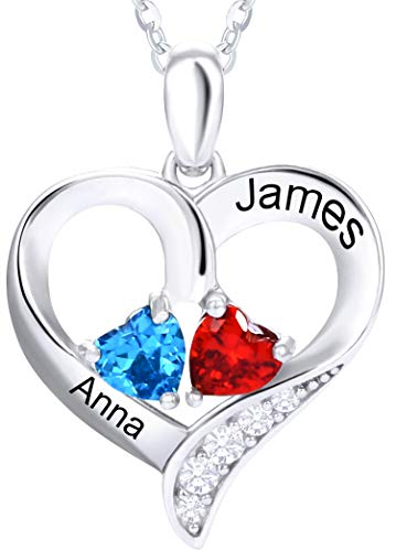 """TUHE 925 Sterling Silver Custom Name Birthstone Pendant Chain Necklace for Women Mother Girl Couples with 15.7""""+2.1"""" Chain, Personalized Custom 2 Name 2 Birthstone Necklace Customized with Gift Box"""