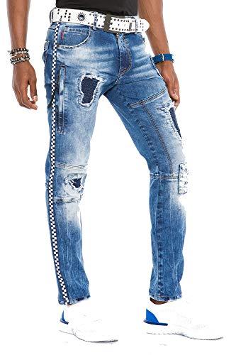 Cipo & Baxx Herren Jeans Hose Ripped Slim Fit Destroyed Denim Hose Patches Kontrastnähte Jeanshose W36 L32 Blau