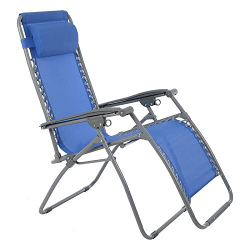 Azuma Zero Gravity Reclining Relaxer Chair Multi Position Garden Outdoor Patio Sunlounger (Texteline French Blue)