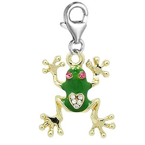 """Clip on""""Frog Charm"""" Dangle Pendant for European Clip on Charm Jewelry w/Lobster Clasp"""