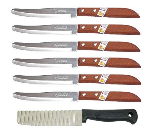 6 x Kiwi Thai Schälmesser Gemüsemesser Obstmesser #502 Küchenmesser Kochmesser + Wellenschnitt Messer Buntmeser Dekoriermesser