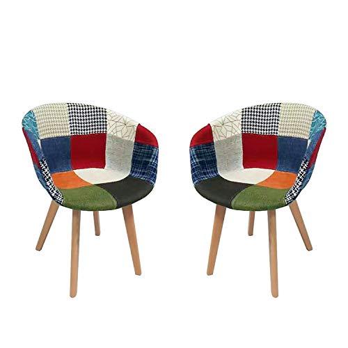 NICEMOODS Juego de 2 sillas de comedor nórdicas de madera maciza simple y moderno sillón de ocio silla de café estilo retro balcón salón comedor moderno, patchwork clásico estilo escandinavo sillas