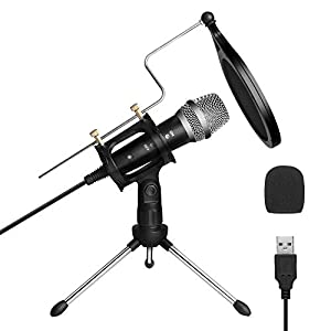 USB Condenser Microphone, ARCHEER PC Microphone Podcast Mic for Computer Laptop MAC or Windows, Professional Plug&Play Studio Microphone for Recording, Streaming Broadcast, YouTube, Gaming, Online Chatting 1.8m/6ft