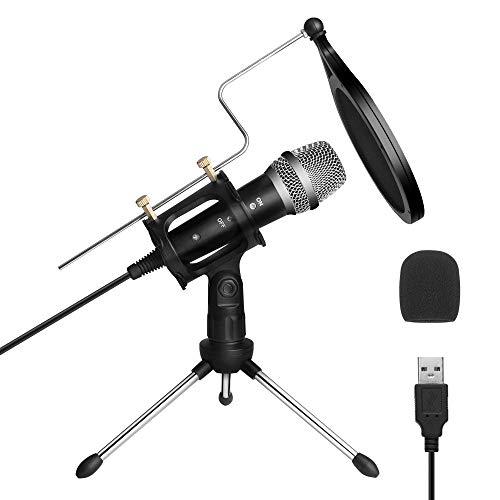 Micrófono PC,Micrófono USB de Condensador para Ordenador Plug & Play con Soporte Trípode & Antipop Filtro Micrófono Condensador de Metal para Grabación Vocal/Skype/Podcasting/Video de Youtube