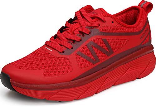 WHITIN Laufschuhe Damen Sportschuhe Straßenlaufschuhe Joggingschuhe Turnschuhe Walkingschuhe Fitness Schuhe Gym rutschfeste Outdoor Dämpfung Atmungsaktiv Sneaker Rot 40 EU