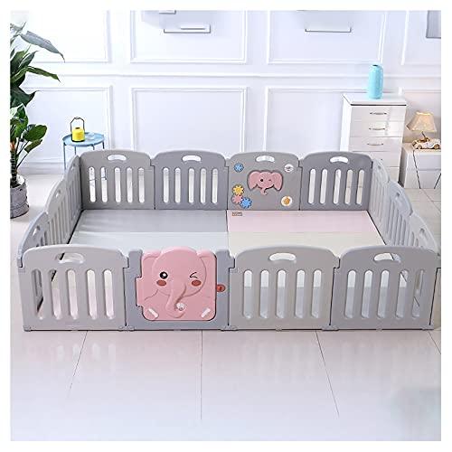 14 Paneles Interiores Y Exteriores Vallado for bebés,Parque Infantil Bebé Plegable Corralito Bebé con Base Antideslizante Portátil Parque de Juegos bebés Adecuado para Bebés de 6 a 36 Meses