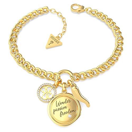 GUESS Armband My Feelings UBB70055-S Edelstahl vergoldet Swarovski Logo Platte Horn Glücksbringer
