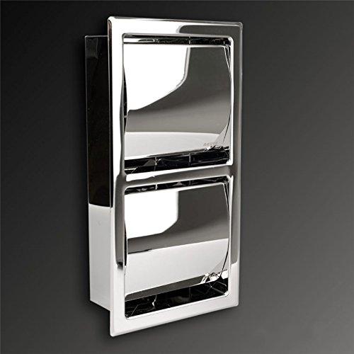 Toilettenpapierhalter aus SUS304 Edelstahl, mit Deckel,hochglänzend, Unterputz zum Einbau, Platzsparend, Twin Doppel Vertikal Senkrecht…
