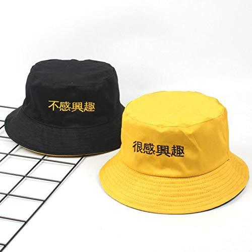 FRRPSG Chino Letra Bordado Reversible Cubo Sombrero Dos Lado Verano Sombrero Algodón Negro Amarillo Pesca Sombrero Panamá Hombres