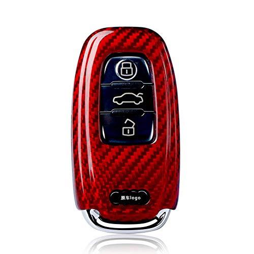 『アウディ リアルカーボン製 高級スマートキーケース キーカバー TT R8 A3 S3 A4 8K A5 8T S5 A6 S6 C7系 A7 S7 A8 Q5 SQ5 Q7(赤)』のトップ画像
