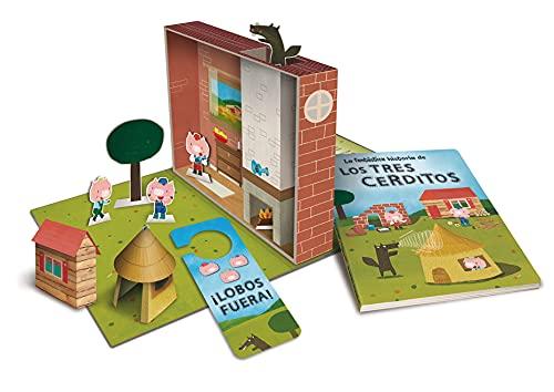 La fantástica historia de Los Tres Cerditos: (Contiene un libro, troqueles de los personajes del cuento, 4 escenarios y un colgador para la puerta) (La fantastica historia de...)