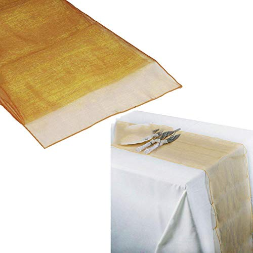 CADXDZS Camino de mesa de organza de 30 cm x 270 cm, color dorado