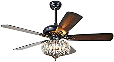 Chandelier Crystal Ceiling Fan Light with Remote Control, 52-Inch 5 Reversible Wood Blade Leaves 3 Adjustable Wind Speed Fand