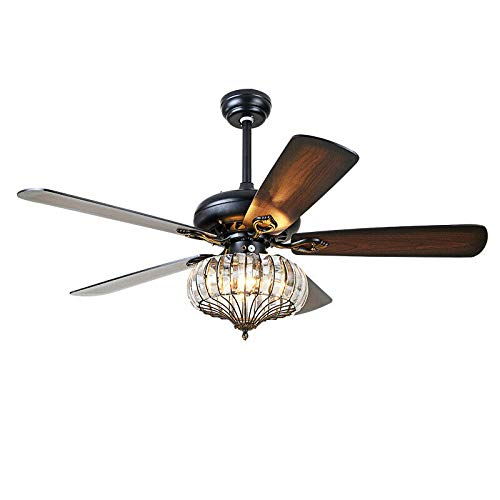 Chandelier Crystal Ceiling Fan Light with Dimmable Remote...