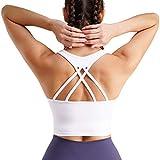 Chumian Reggiseno Sportivo con Spallacci Imbottiti e Incrociati per Yoga Fitness (Bianca, L)