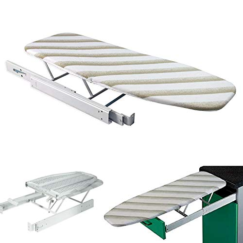 Nisorpa Pull Out Ironing Board Solid Metal Cabinet Built in Iron Board with Cover Foldable Hidden Pullout Ironing Board for Extractible Drawer Space Saving