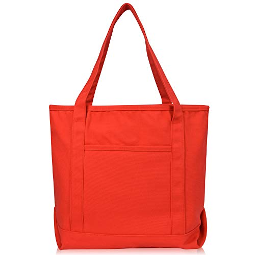 DALIX 20' Solid Color Cotton Canvas Shopping Tote Bag in Red