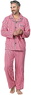 Image of Classic Red and White Striped Christmas Pajama Set for Men - See More Holiday PJs