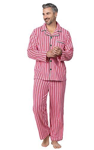 PajamaGram Christmas Pajamas for Men - Warm Mens Fleece Pajamas, Red/White, LG