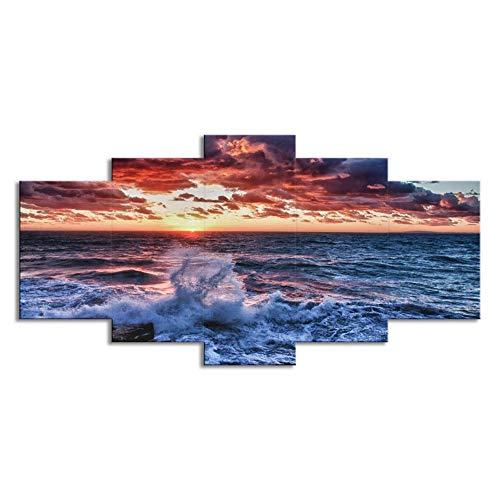 """WLWIN Bild 150x80 cm/59.1\""""x31.5\"""",4 Größen erhältlich,Bild auf Leinwand fertig gerahmte Bilder 5 Teile,Kunstdrucke, Wandbilder ,Leinwandbilder,Geschenke, Seeblick"""