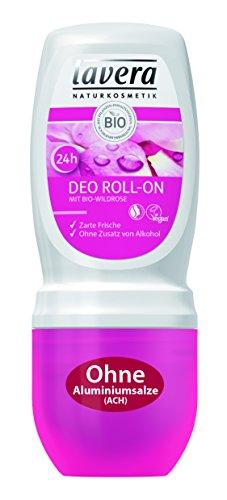 lavera Deo Roll On 24h Bio Wildrose, fris, 24 uur deodorant zonder aluminium, lichaamsverzorging per stuk (1 x 50 ml)