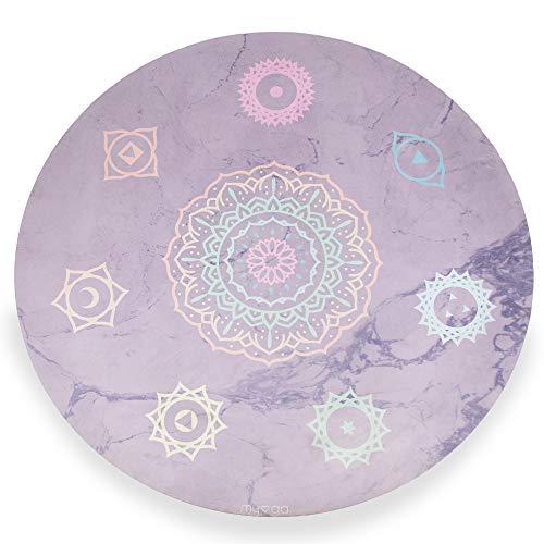 Myga RY1178 - Chakra Round Circle Yoga Mat - Vegan Suede Top with Rubber Bottom - Eco...
