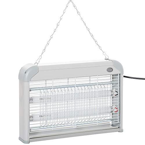 Outsunny Lámpara Anti-Mosquitos Lámpara Mata Insectos Eléctrico Luz Ultravioleta 20W con 2 Tubos LED Área de Acción 60m² Interiores Exteriores 39x7,5x26,5 cm Blanco