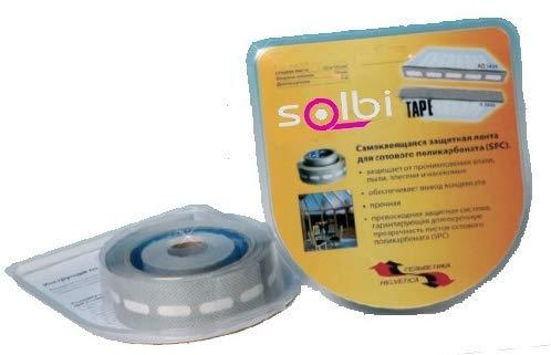 SOLBI-MURAL Pack Cintas Anti-Polvo y Anti-Humedad para Sellado de Policarbonato Celular, Compuesto por 1 rollo cinta adhesiva perforada + 1 rollo de cinta ciega. Medidas de cada rollo: 6'5m x 38mm.