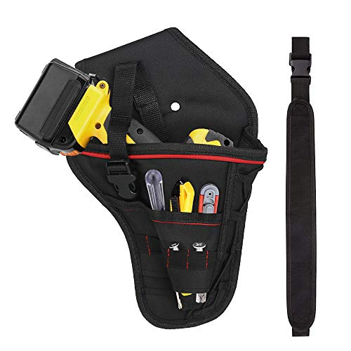 Drill Holster, LYTIVAGEN Portable Electrician Drill Holder Belt Pouch Bag Impact Driver for Wrench/Hammer/Screwdriver/Most T Handle Drills - Black