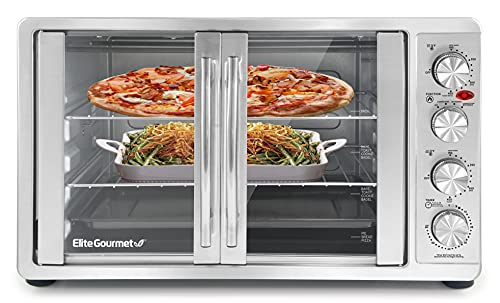 Elite Gourmet ETO-4510M Double French Door Countertop Convection Toaster Oven, Bake Broil Toast Rotisserie Keep Warm 12'-14' Pizza 2 Racks, 18-Slice, 45 L, Stainless Steel & Black