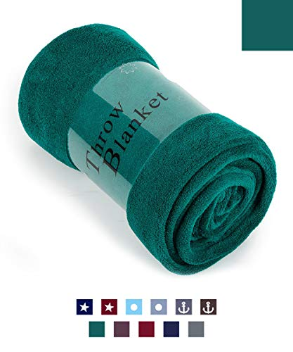 """HAOK Soft Warm Teal Plush Throw Blanket for Couch – Comfortable Lightweight Fleece Travel Blanket 50"""" x 60"""""""
