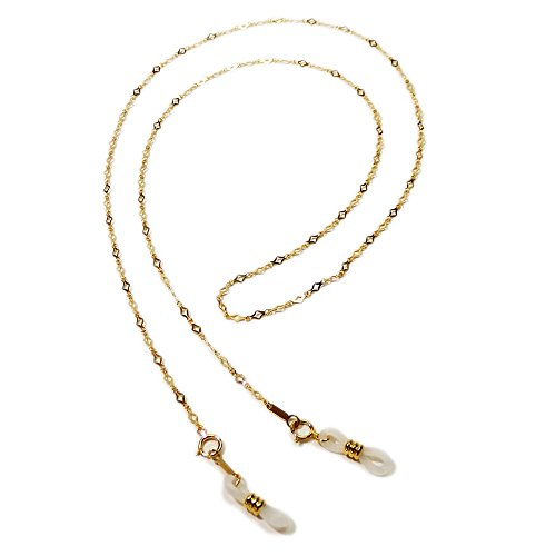 超セレブ! 18金の メガネチェーン K18 ダイヤ型チェーン ネックレスにもなる 2WAY 眼鏡 チェーン めがねチェーン 風水カラー 金 ゴールド ケース付き