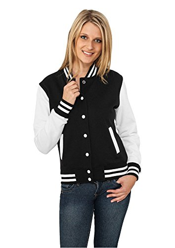 Urban Classics TB218 Damen Jacke Ladies 2-tone College Sweatjacket, Mehrfarbig(blk/wht), Large