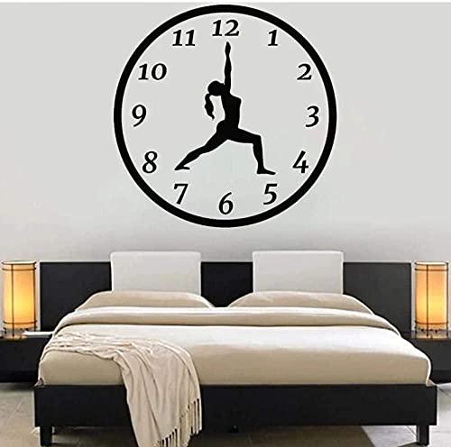Calcomanías de vinilo para pared decoración de la pared decoración del dormitorio tiempo de yoga meditación chica silueta pose reloj 42x42 cm