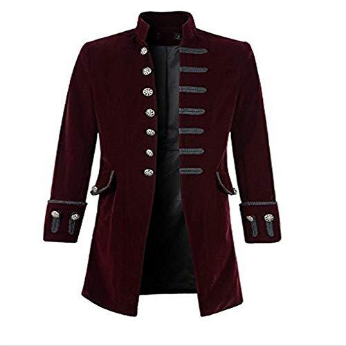qulvyushangmaobu Herren Tailcoat Jacke Elegant Gothic Frock Uniform Kostüm Langarm Vintage Party Punk Retro Lange Windjacke Retro Steampunk Tailcoat Frock Uniform Karneval Outwear