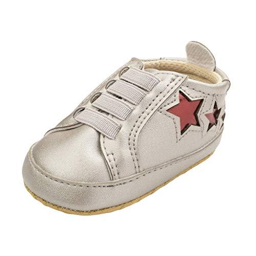 Kingko ® bébé Fille Garcon Chaussures en Cuir PU Sneaker Anti-dérapant Souple Sole Toddlerr Etoiles 6 12 18 Mois Chaussures legeres Respirants (12(6-12mois), Argente)