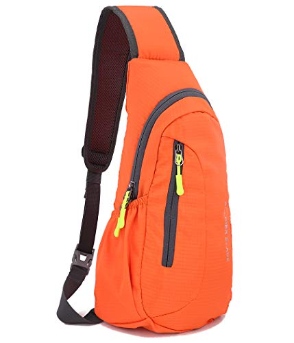 Gisdanchz Personal Pocket Bags for Women, Waterproof Lightweight Sports Sling Backpack Bags Small Rucksack for Men Cross Body Chest Bag One Strap Shoulder Bags Small Gym Bag for Sport Travel, Orange