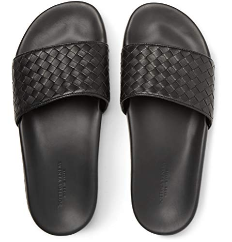 Bottega Veneta Intrecciato Leather Slides Sandals Beach Shoes Slippers Black (UK 8/42)