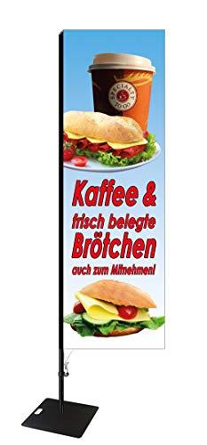 Beachvlag voor koffie en broodjes, ca. 275 cm hoog- SEF507
