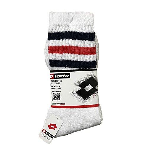 Lotto Lot de 3 paires de chaussettes de tennis courtes en coton pour homme/femme Blanc à rayures Taille 39-42