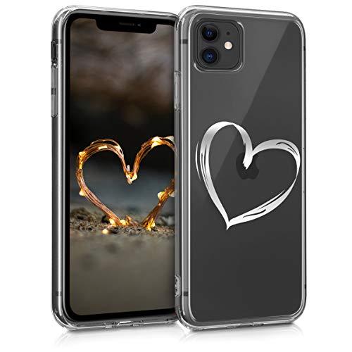 kwmobile Hülle kompatibel mit Apple iPhone 11 - Hülle Handy - Handyhülle Herz Brush Silber Transparent