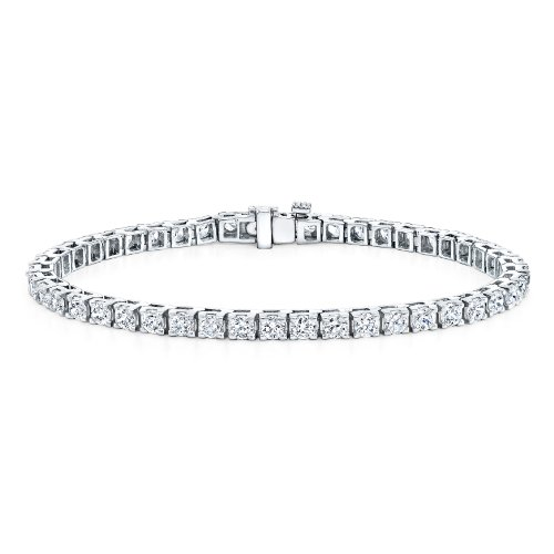 14k White Gold Round Cut Diamond Tennis Link Bracelet 4-Prong (15 cttw, H-I Color, SI1-SI2 Clarity)