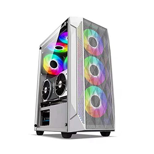 KDR Caja Ordenador Gaming ATX, Caja Ordenador Panel Lateral de Vidrio Templado, Ventilador de 8 ×, Compatible con Múltiples Versiones de Placa Base (ATX, M-ATX, Mini-ITX)