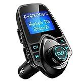 VicTsing Transmetteur FM sans fil Bluetooth Kit Main Libre Voiture Adaptateur Chaîne Radio avec Ecran d'Affichage de 1,44 Pouce et Chargeur USB