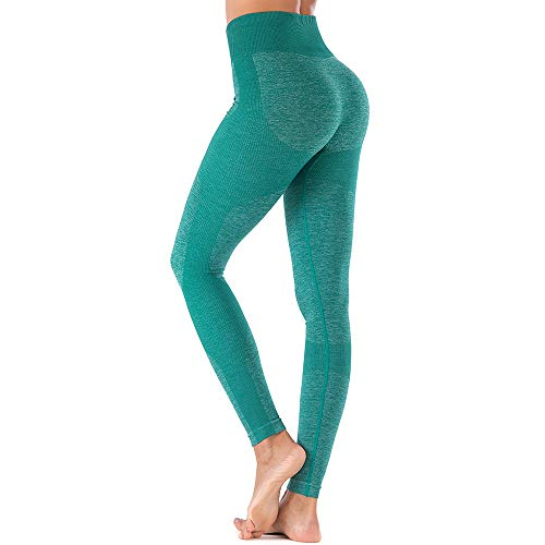 Deportivo para Mujer Leggings Apretado Leggings de Cadera Pantalón Largo Media Cintura Nalgas Respingadas para Yoga Gimnasio Fitness (S, Esmeralda)